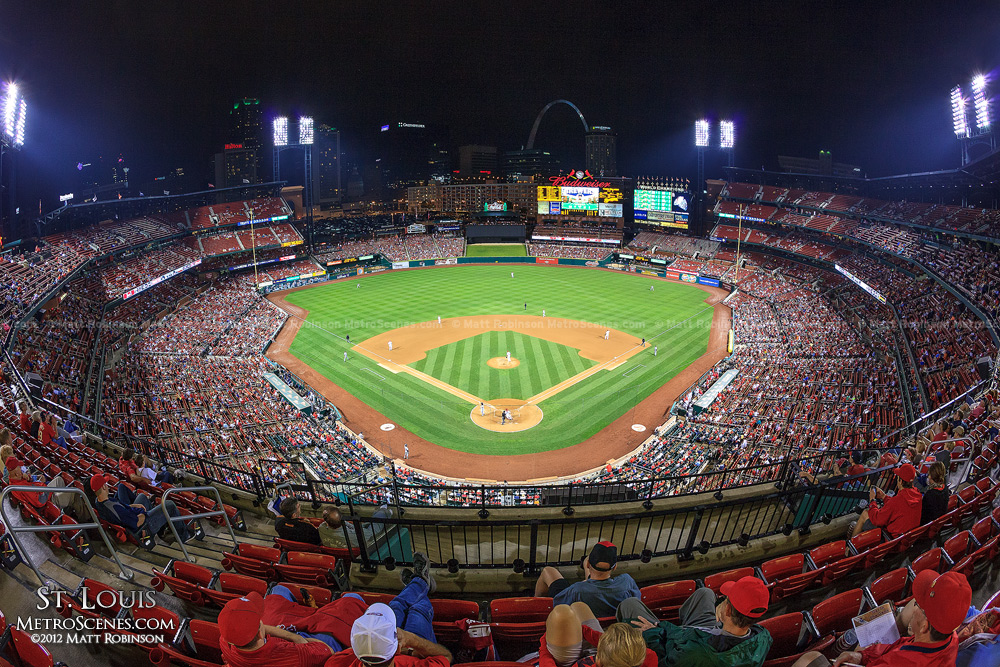 Fisheye of Busch Stadium at night
