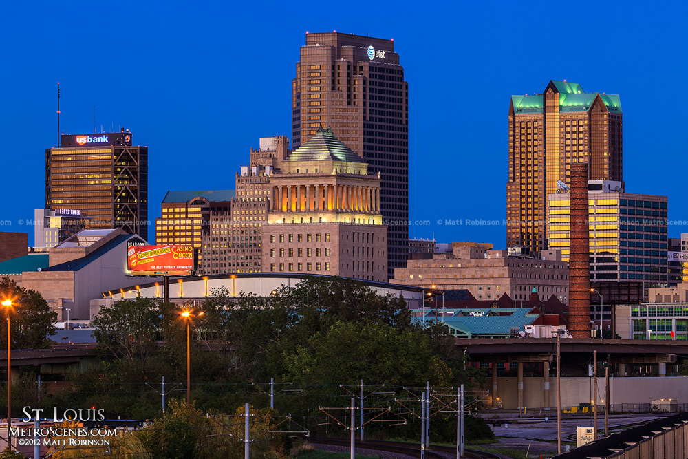 Downtown St. Louis after sunset