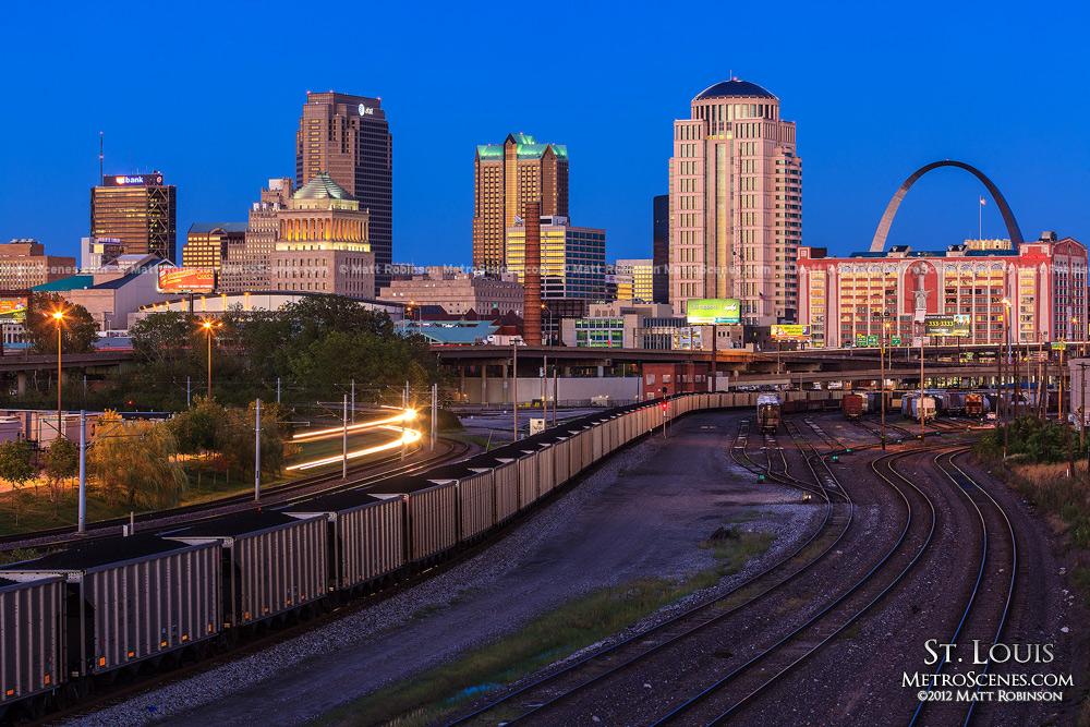 St. Louis skyline at magic hour