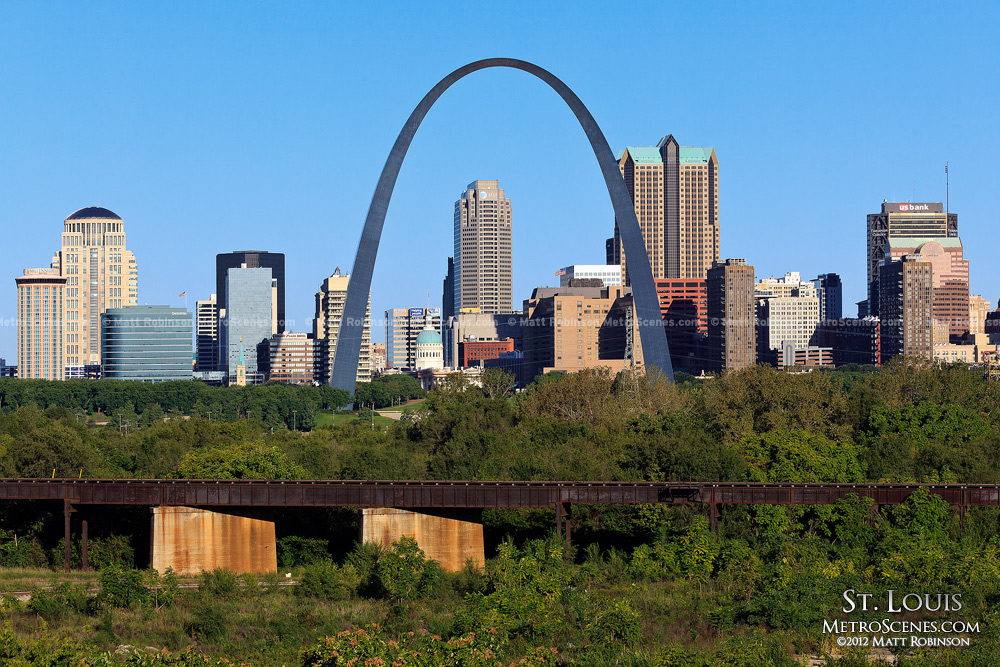 St. Louis skyline with blue skies
