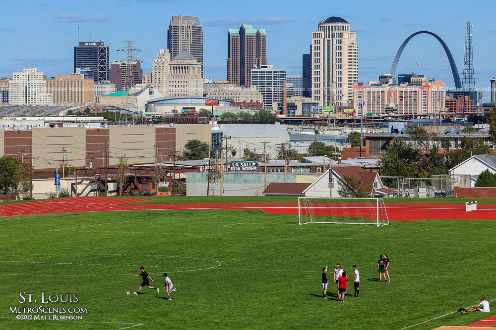 Soccer practice at SLU with downtown St. Louis