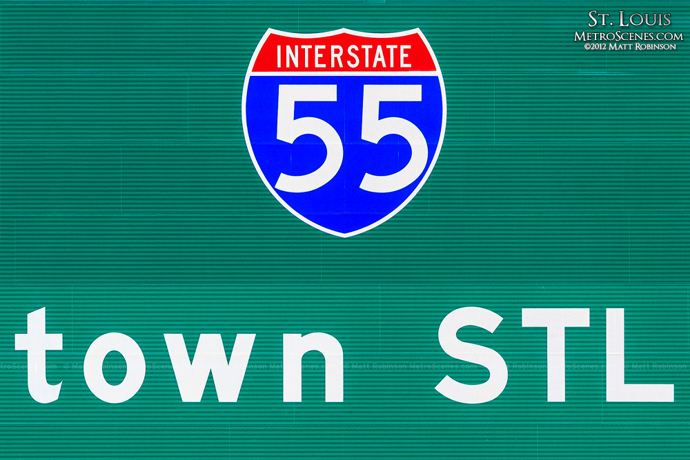 I-55 Sign for Downtown STL