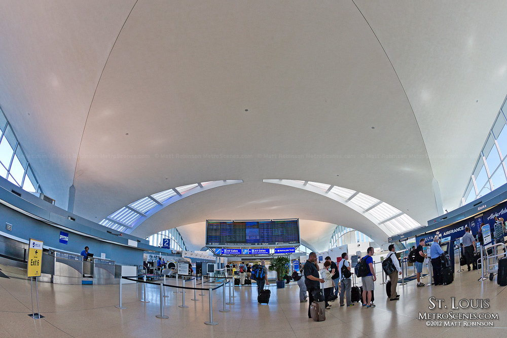 View of St. Louis International Airport check in terminal