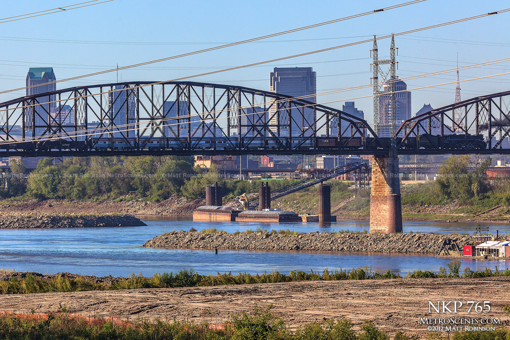 Steam Engine crosses the Merchants Bridge with St. Louis Skyline