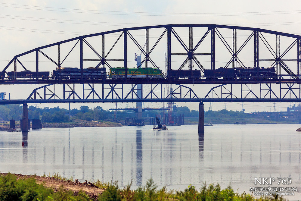 Steam Engine NKP 765 crosses the Merchants Bridge in St. Louis, MO