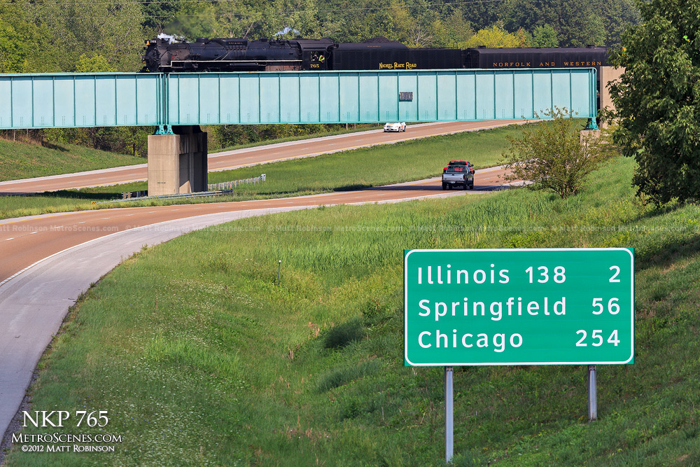 NKP 765 crosses over I-55 in Illinois