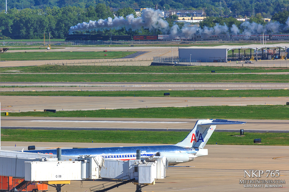 Planes, Trains and Automobiles - NKP passes Lambert St. Louis International Airport