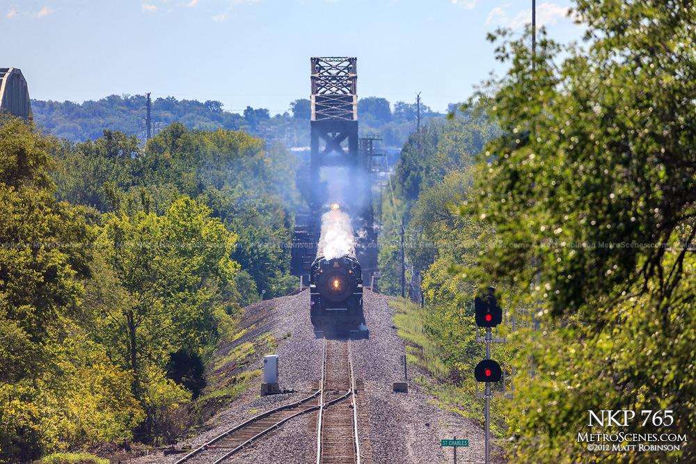 Steam Locomotive 765 exits Bridgeton, Mo