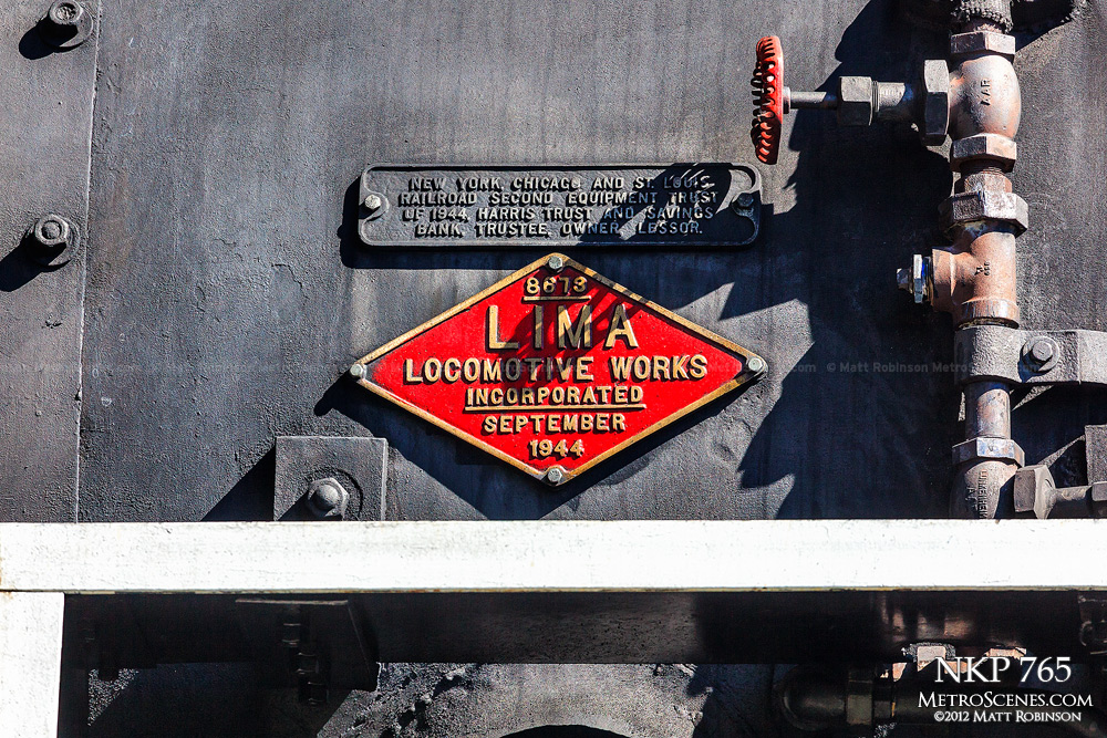 Red Lima Locomotive builder plate on NKP 765