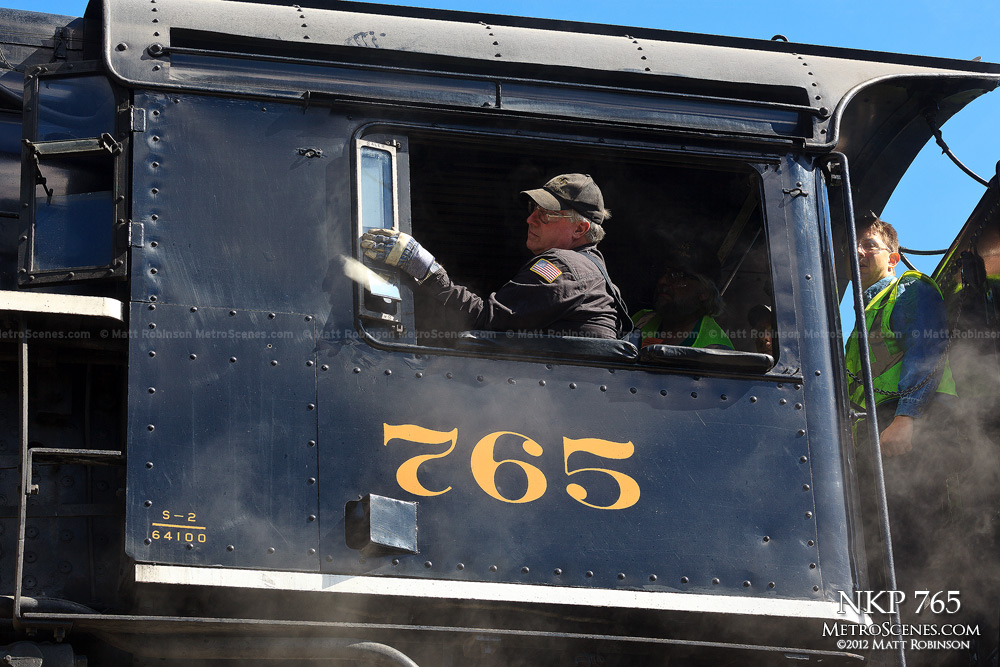 Close up the Cab of NKP 765 in Berkley Yard in St. Louis