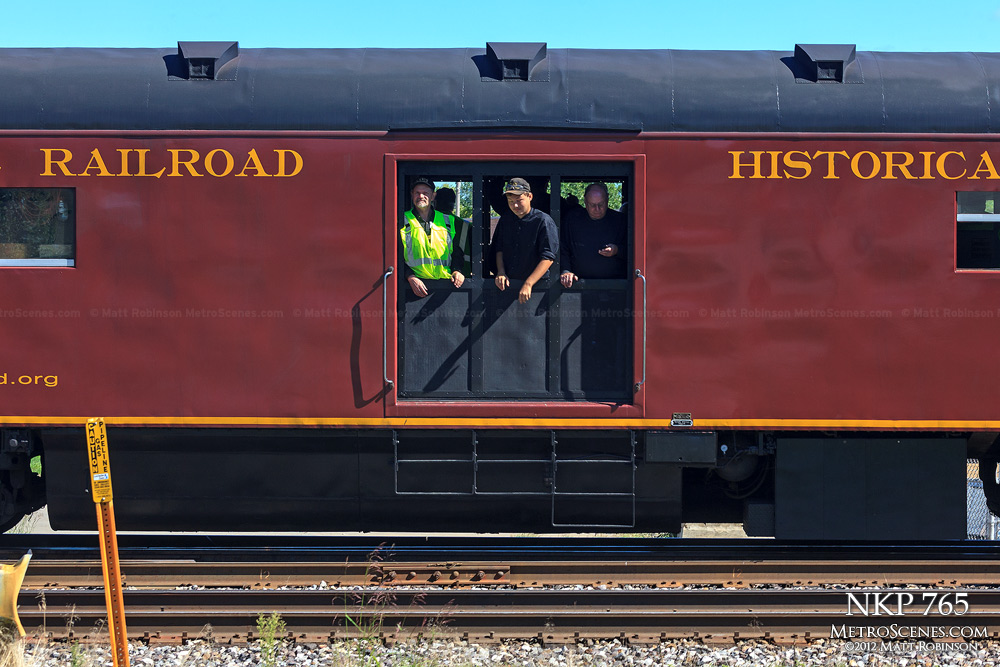 Fort Wayne Historical Society crew car behind NKP 765