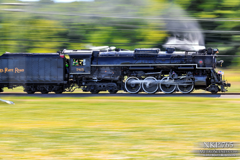 Panning motion of NKP 765 in St. Peters, MO