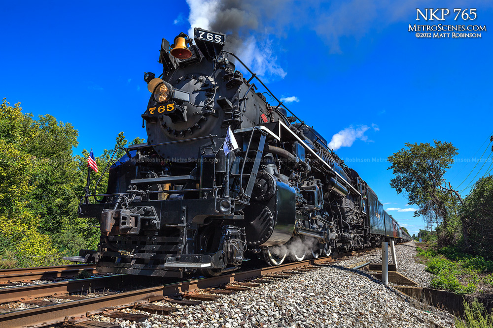 Steam Locomotive Nickel Plate Road 765 with blue skies