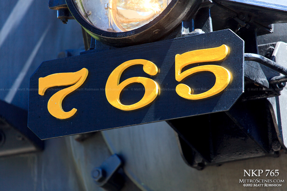 Close up of NKP 765 front number board