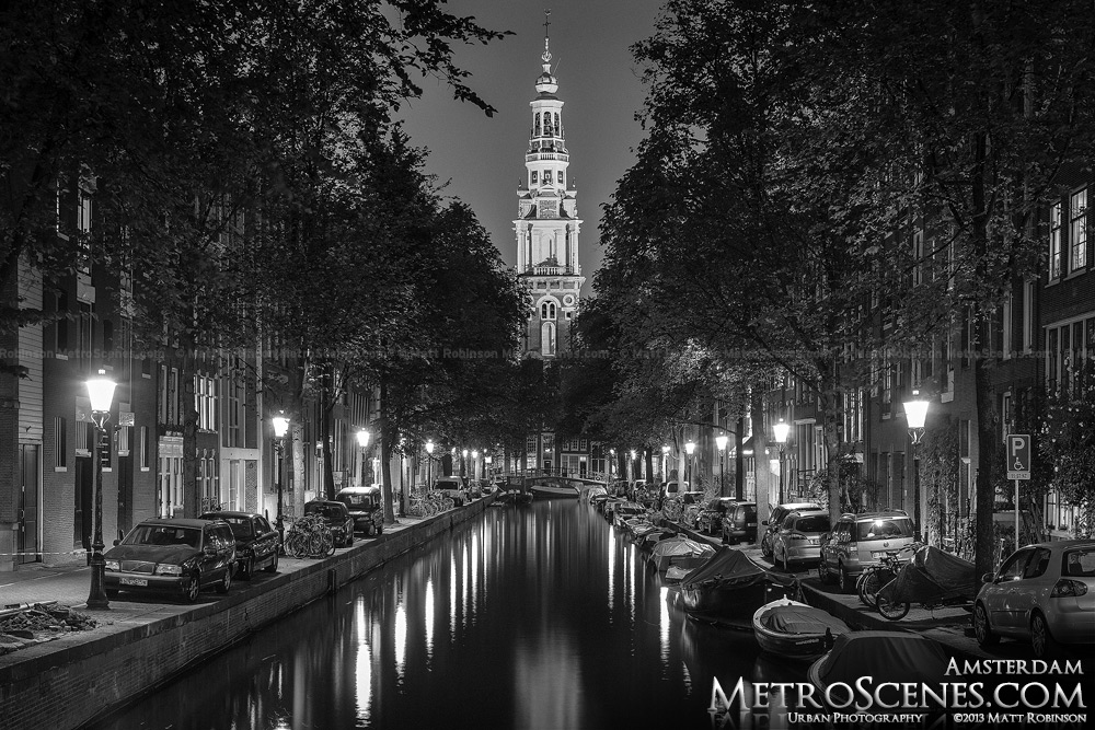 Amsterdam Canal Black and White at night
