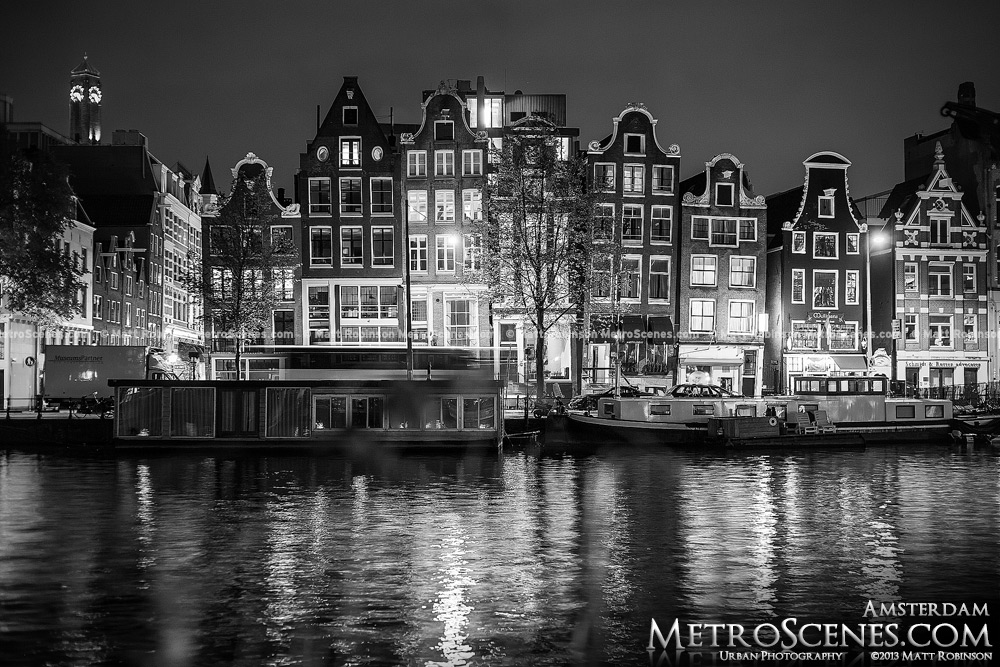 Amsterdam Black and White - Crooked buildings along the Amstel River
