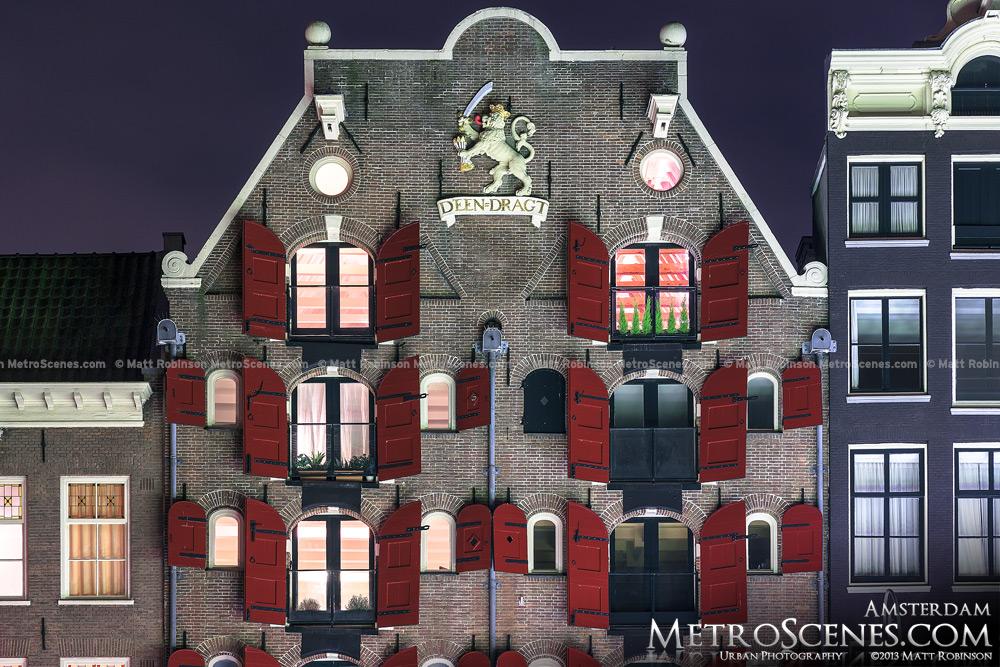 Red window shutters Amsterdam