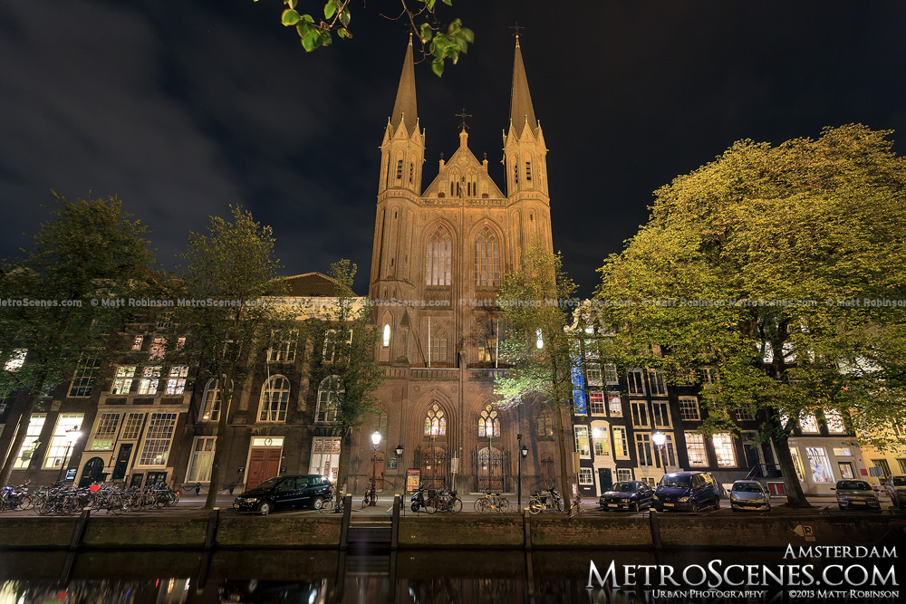 De Krijtberg Church at night
