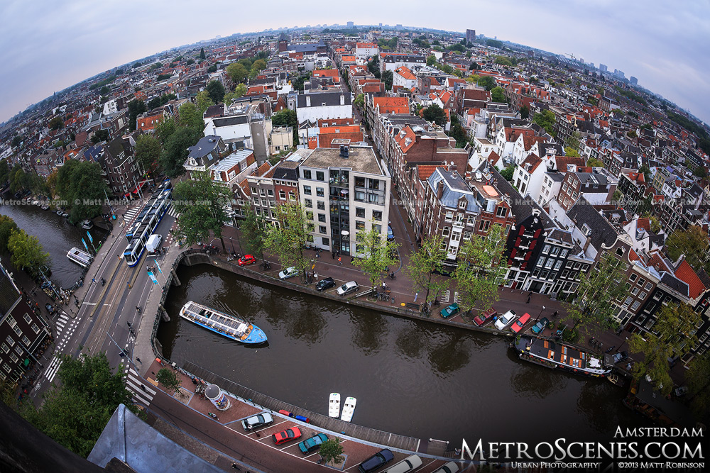 Fisheye over Amsterdam from Westerkerk