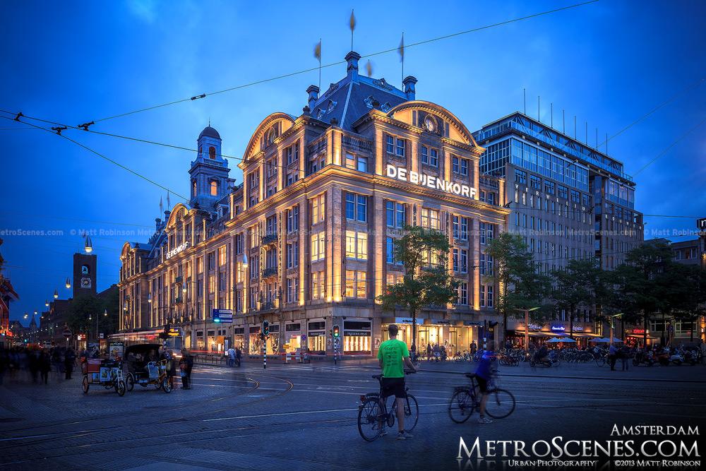 De Bijenkorf at dusk in Amsterdam