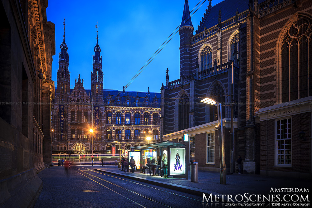 Magna Plaza in Amsterdam at night
