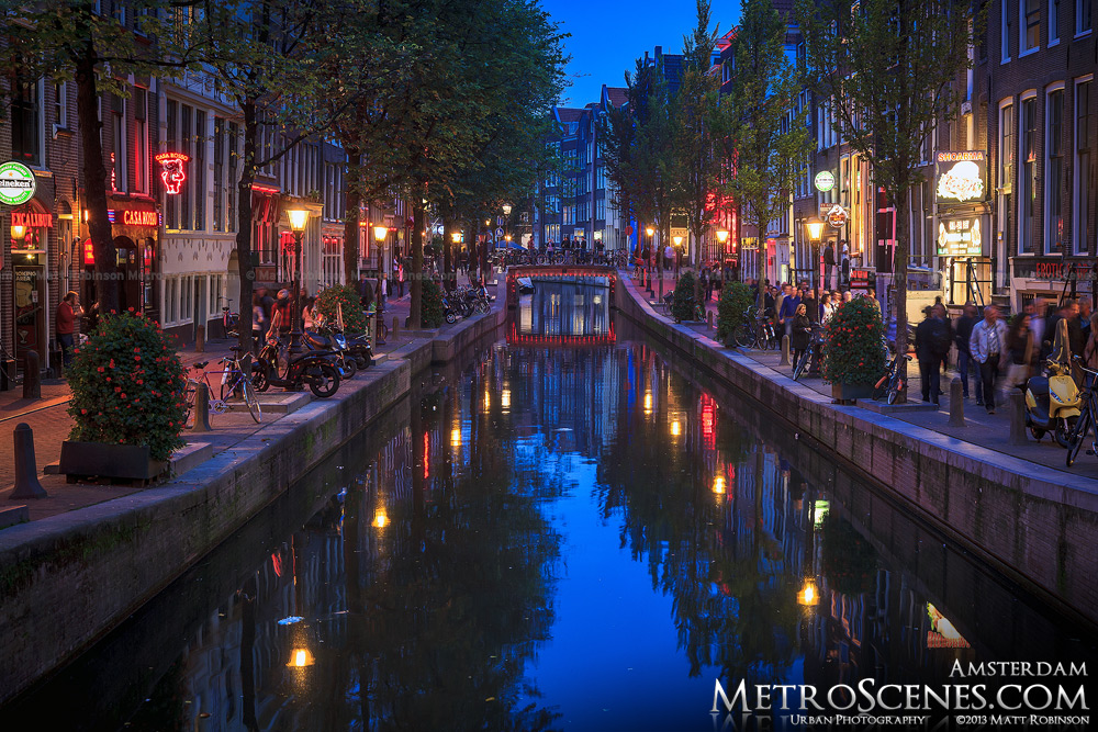 Red Light District in Amsterdam at magic hour