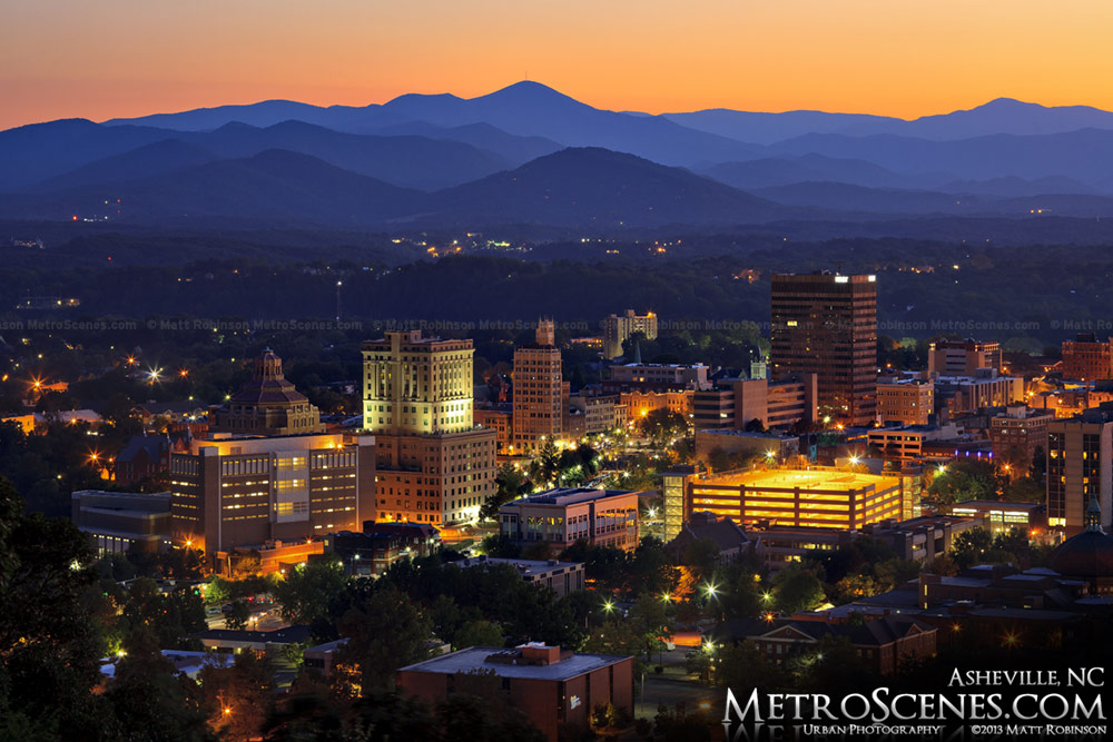 City of Asheville at night