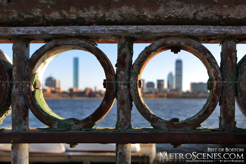 Boston seen through Charles River railing