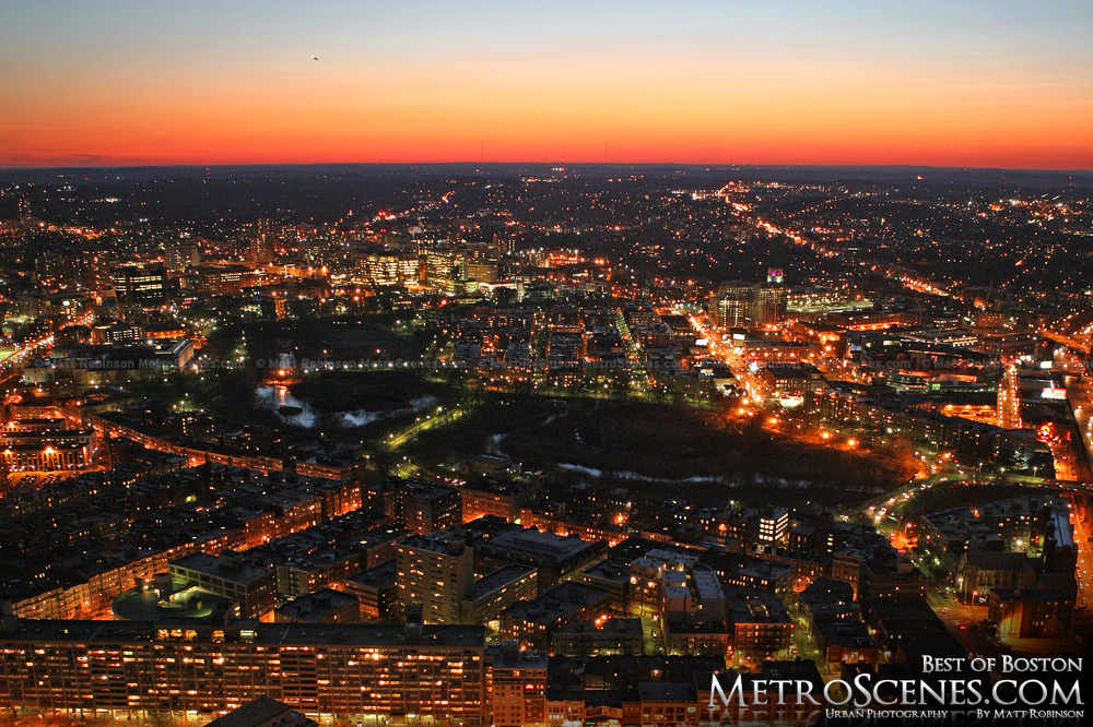 Sunset over western Boston