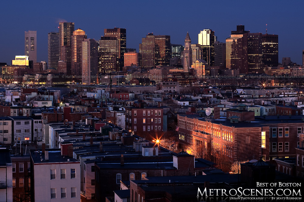 Boston Skyline at sunrise from the Embassy Suits