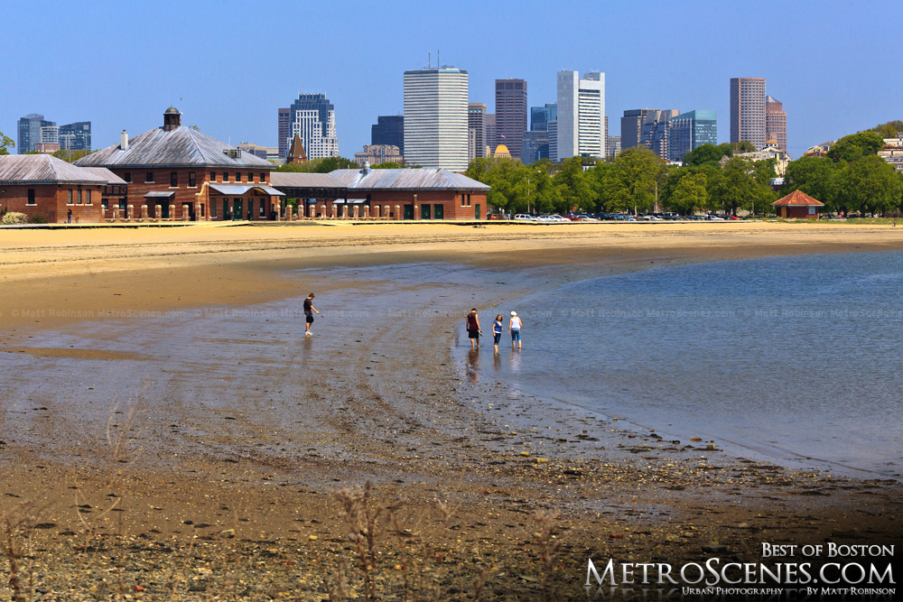 Carson Beach with the Boston Skyline