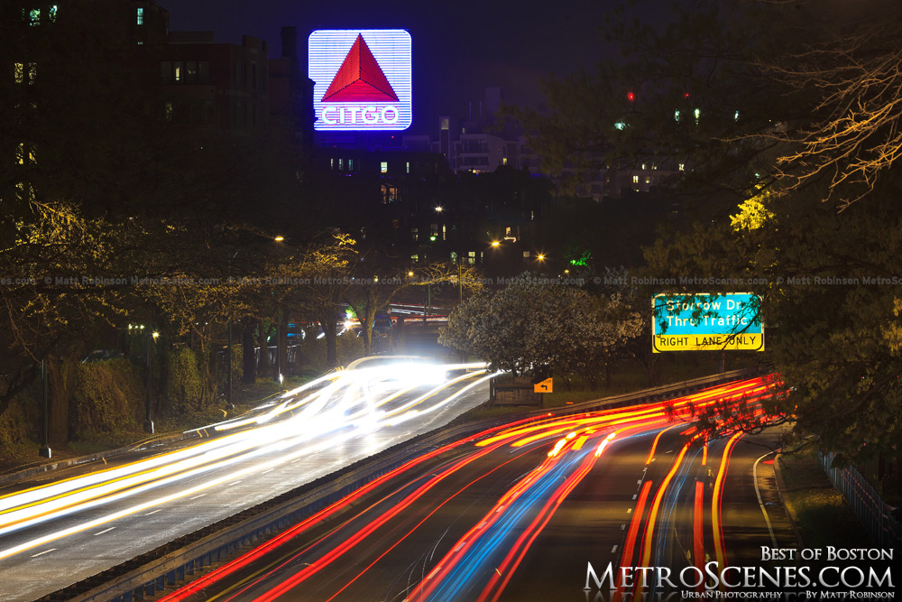Citgo sign at night with traffic