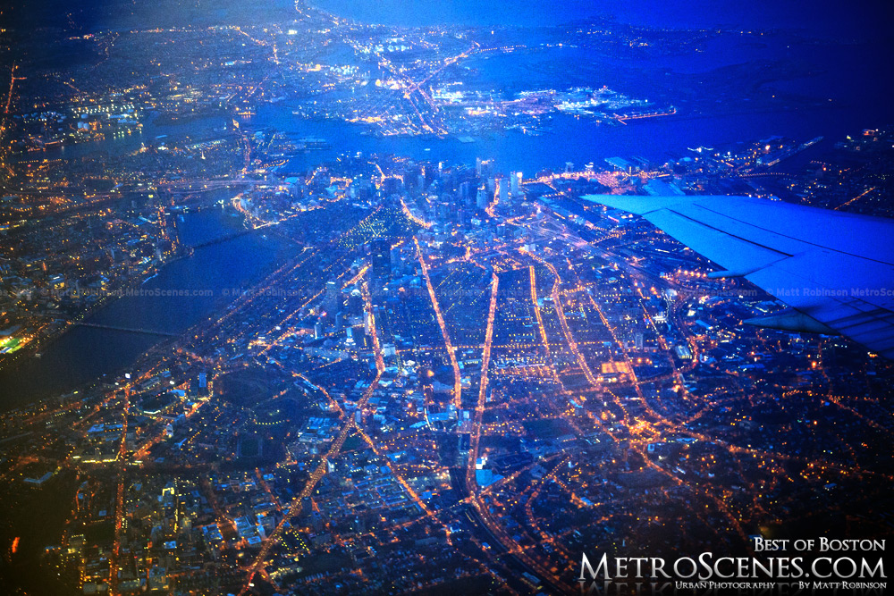 Aerial of Boston at night