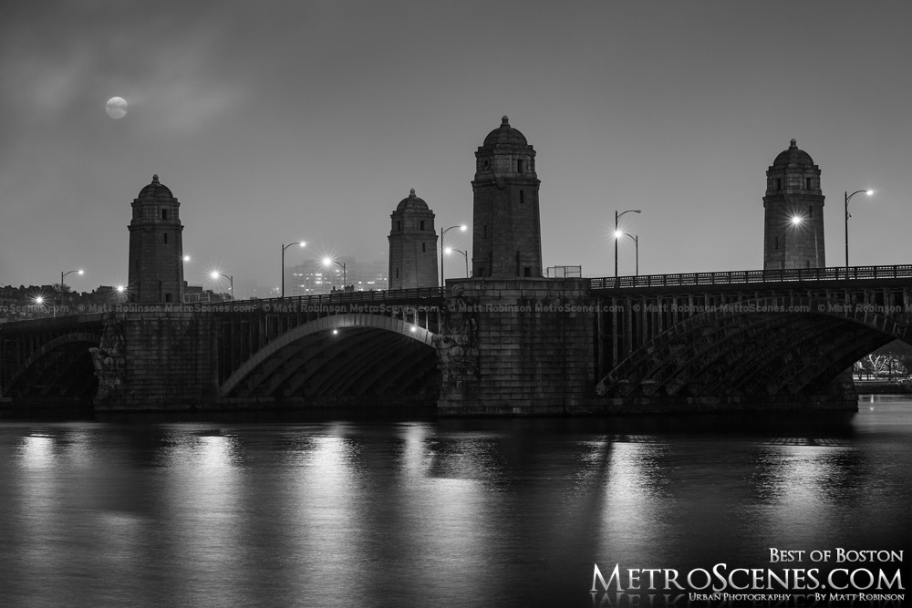 Fog obscures Boston at night Black and White with Longfellow Bridge
