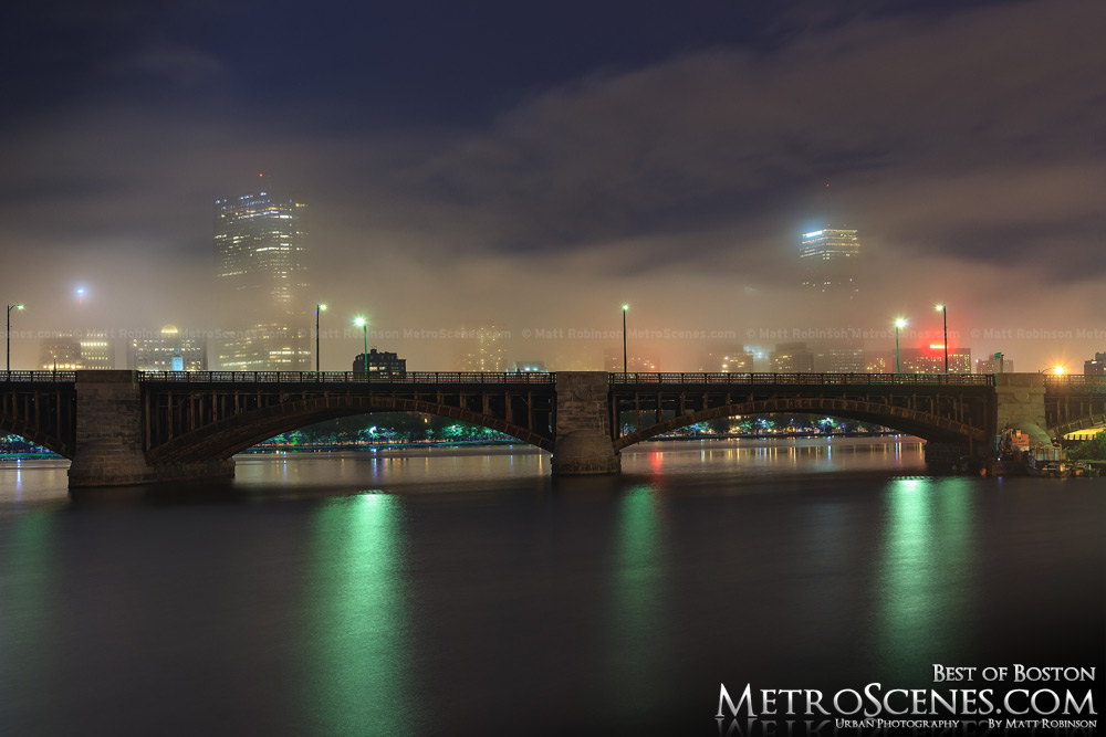 Boston skyline with fog