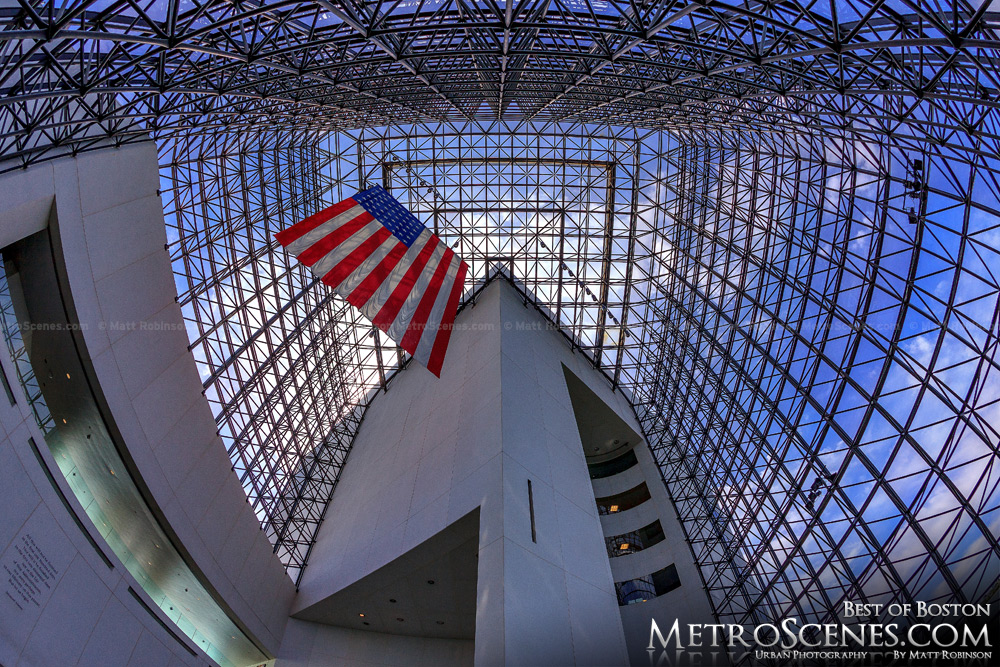 Fisheye of JFK Presidential Library Glass Pavilion