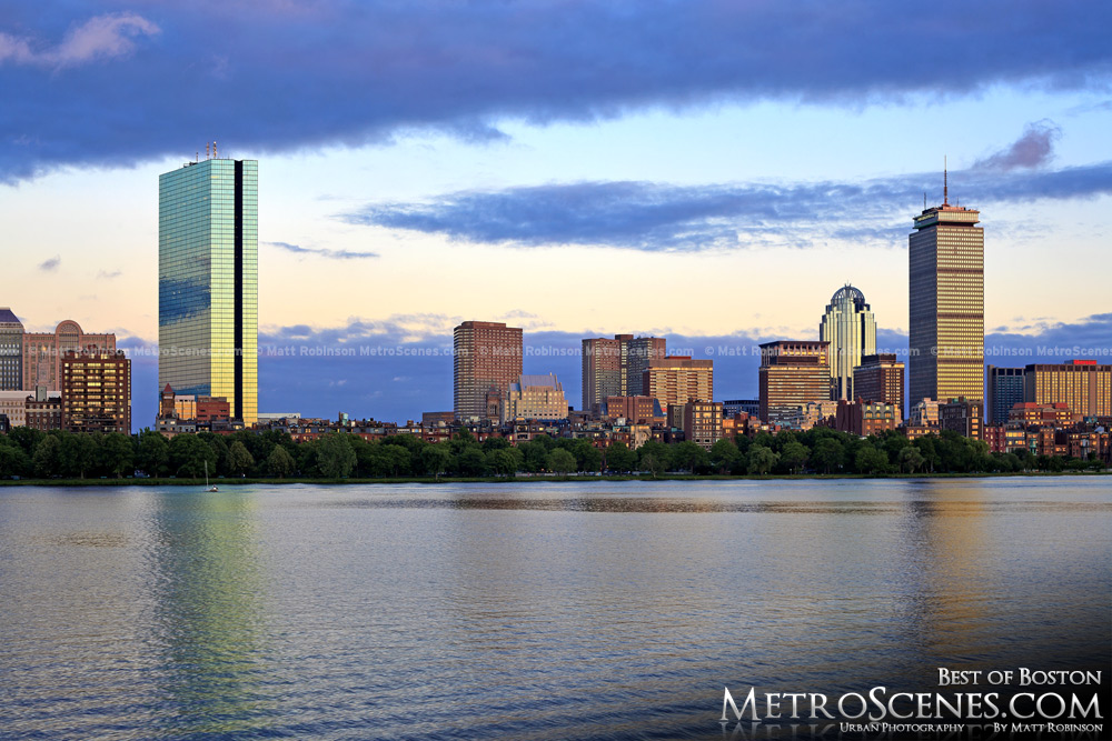 Boston skyline and Charles River before sunset