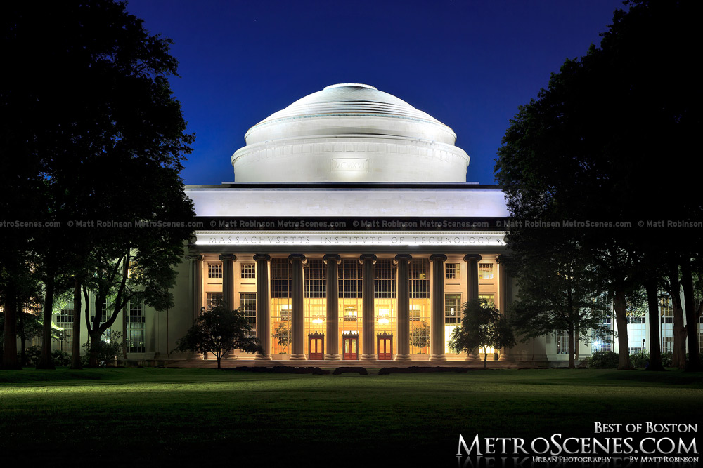 MIT's Great Dome at night