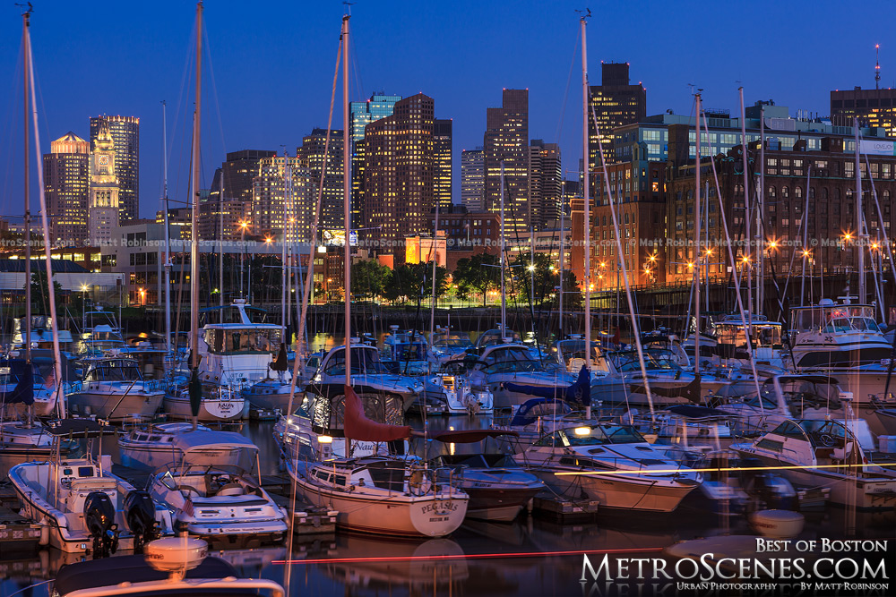 Downtown Boston Skyline at night from Tudor Wharf