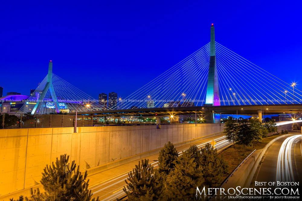 Zakim Bridge in Boston at blue hour
