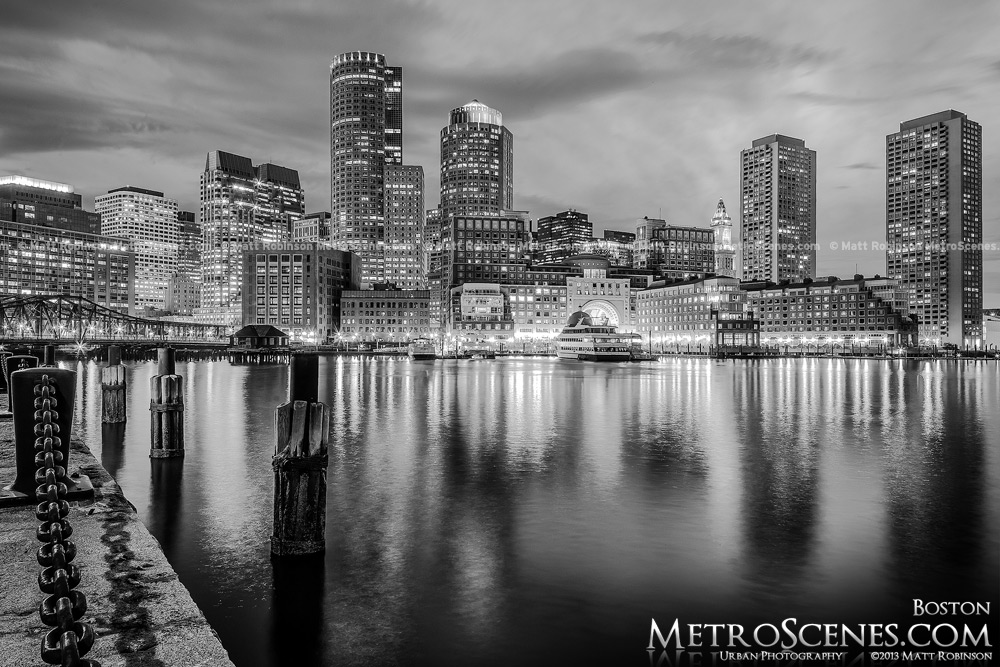 Boston Black and White at night with water