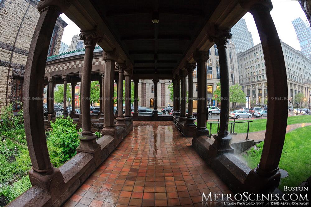 Columns of Trinity Church during a rainstorm