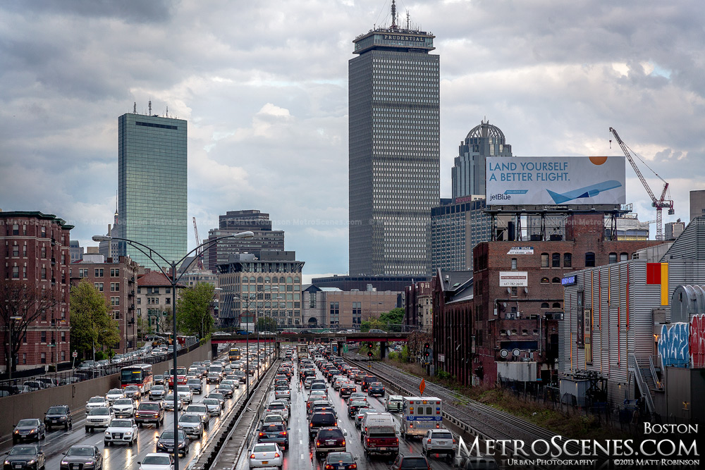 Traffic on Interstate 90 with the Boston Back Bay skyline
