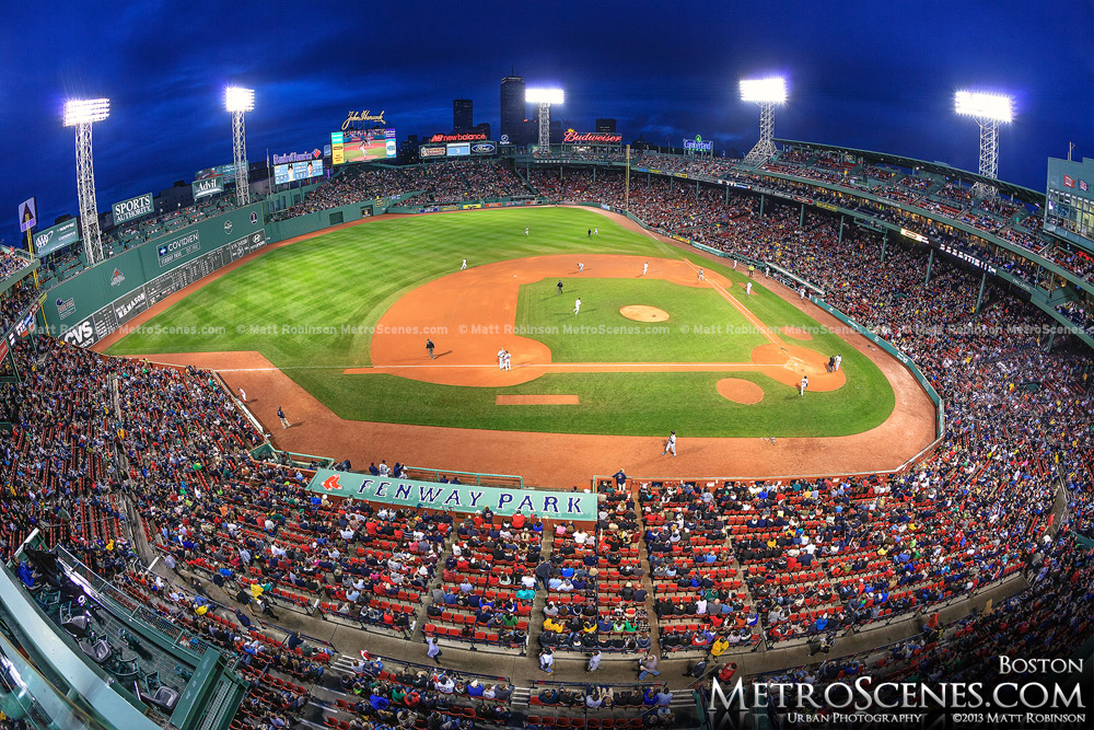 Fisheye of Boston's Fenway Park during a Red Sox game