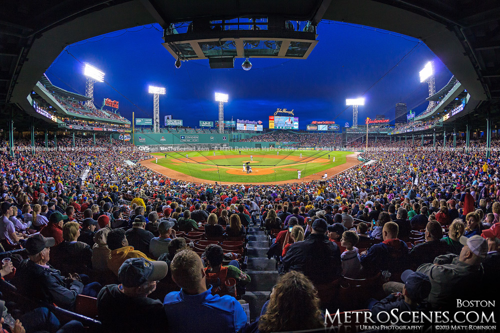 Wide view of Fenway Park behind home plate