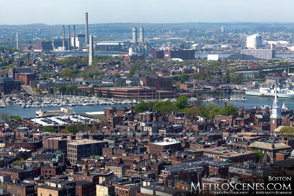Aerial of Boston's North End and Charlestown