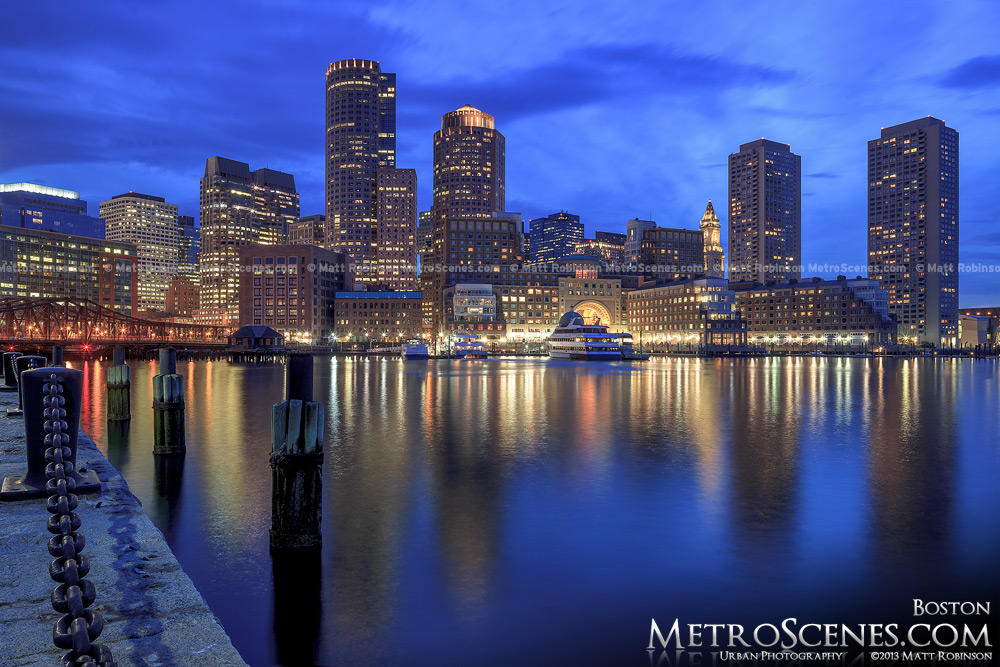 International Place in Boston at night from Fan Pier
