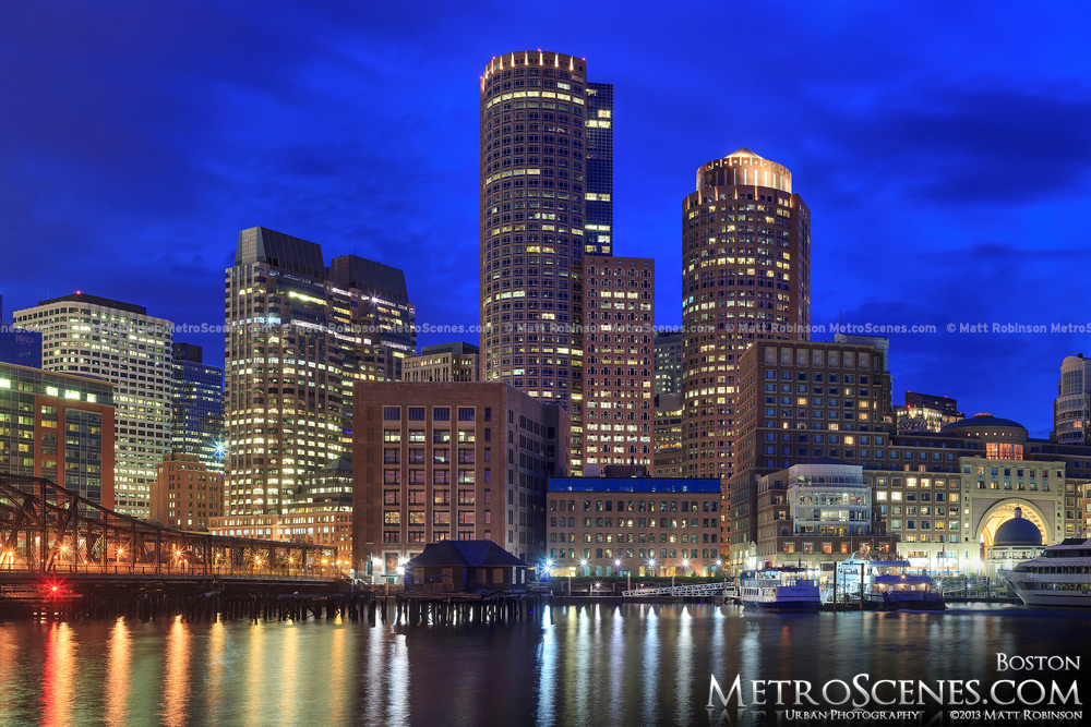 Boston Skyline at night from Fan Pier