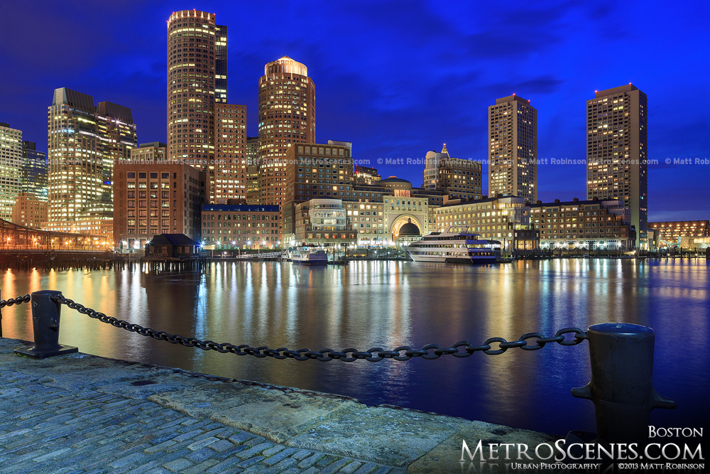 Boston Skyline with chains from Fan Pier