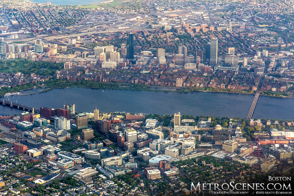 Aerial of Boston's Back Bay and Cambridge